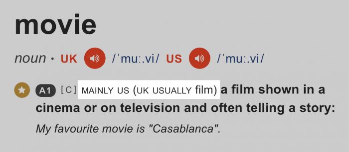 米国は「movie」・英国は「film」