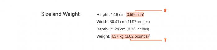 Macbook Pro サイズと重量(オーストラリア)